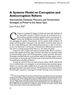 "(2017)   ""A Systems Model of Corruption and Anti-Corruption Reform: International and Domestic Pressure, and Government Strategies to Preserve the Status Quo,"" Air & Space Power Journal–Africa & Francophonie, Vol. 8, No. 3, pp. 40-55."