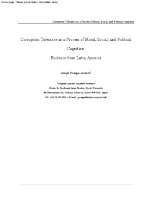 """(2021) """"Corruption tolerance as a process of moral, social, and political cognition: evidence from Latin America,"""" Crime, Law and Social Change."""