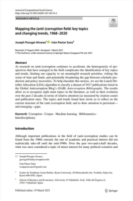 """(2021) """"Mapping the (anti-)corruption field: key topics and changing trends, 1968–2020,"""" Journal of Computational Social Science."""