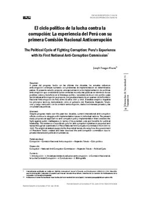 """(2019) """"El ciclo político de la lucha contra la corrupción: La experiencia del Perú con su primera Comisión Nacional Anticorrupción,"""" Derecho & Sociedad, No. 52, pp. 81-96."""